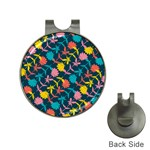 Colorful Floral Pattern Hat Clips with Golf Markers Front