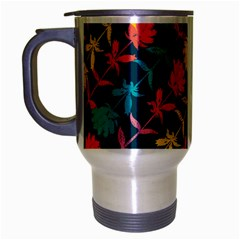 Colorful Floral Pattern Travel Mug (Silver Gray)