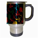 Colorful Floral Pattern Travel Mug (Silver Gray) Right