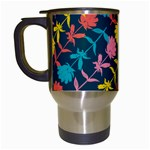 Colorful Floral Pattern Travel Mugs (White) Left