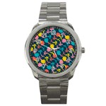 Colorful Floral Pattern Sport Metal Watch Front
