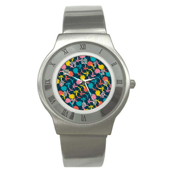 Colorful Floral Pattern Stainless Steel Watch