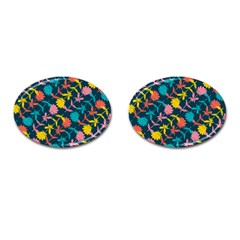 Colorful Floral Pattern Cufflinks (oval)