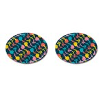 Colorful Floral Pattern Cufflinks (Oval) Front