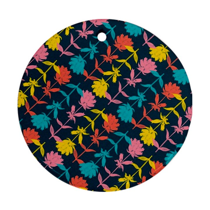Colorful Floral Pattern Round Ornament (Two Sides)