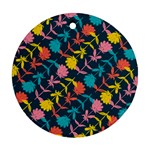 Colorful Floral Pattern Round Ornament (Two Sides)  Back