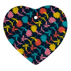 Colorful Floral Pattern Heart Ornament (2 Sides) by DanaeStudio