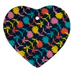 Colorful Floral Pattern Heart Ornament (2 Sides) Front