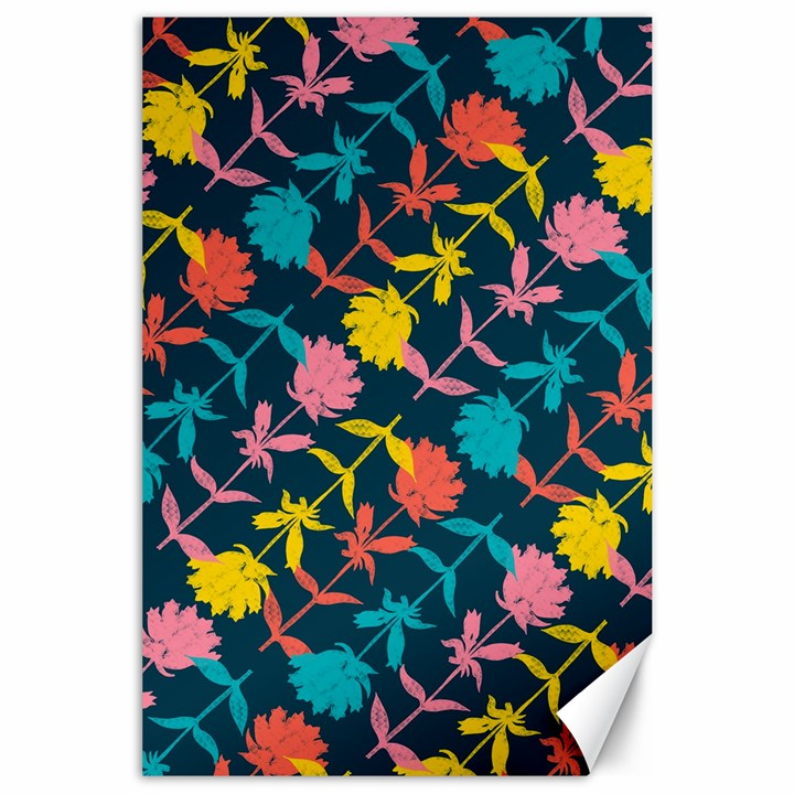 Colorful Floral Pattern Canvas 24  x 36
