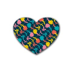 Colorful Floral Pattern Rubber Coaster (Heart)