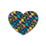 Colorful Floral Pattern Heart Coaster (4 pack)  Front