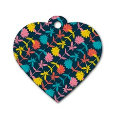Colorful Floral Pattern Dog Tag Heart (One Side)