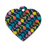 Colorful Floral Pattern Dog Tag Heart (Two Sides) Front