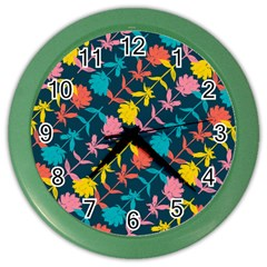 Colorful Floral Pattern Color Wall Clocks by DanaeStudio