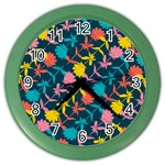 Colorful Floral Pattern Color Wall Clocks Front