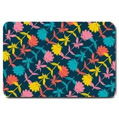 Colorful Floral Pattern Large Doormat  by DanaeStudio