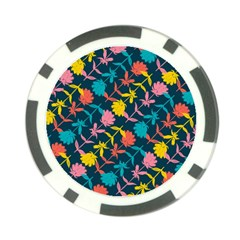Colorful Floral Pattern Poker Chip Card Guards