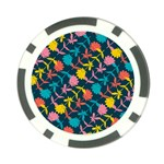 Colorful Floral Pattern Poker Chip Card Guards Back