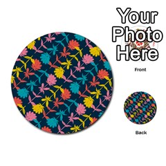 Colorful Floral Pattern Multi Purpose Cards (round)