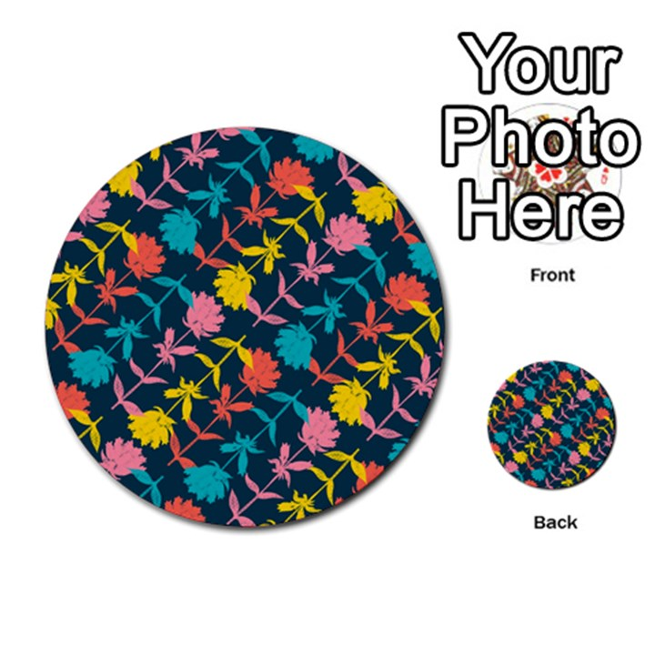 Colorful Floral Pattern Multi-purpose Cards (Round)