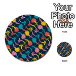 Colorful Floral Pattern Multi-purpose Cards (Round)  Back 16