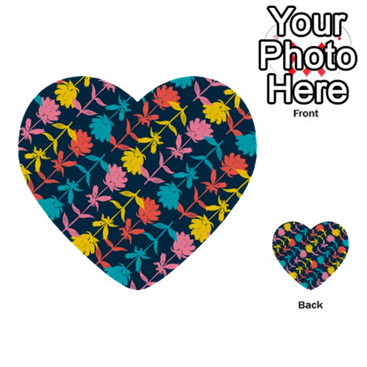Colorful Floral Pattern Multi-purpose Cards (Heart)