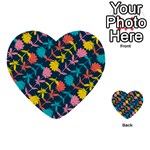 Colorful Floral Pattern Multi-purpose Cards (Heart)  Back 3