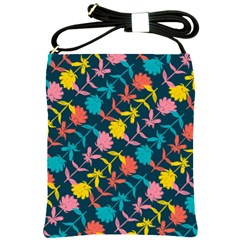Colorful Floral Pattern Shoulder Sling Bags by DanaeStudio