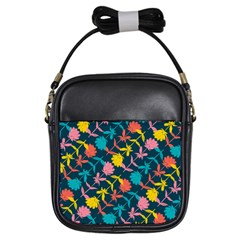 Colorful Floral Pattern Girls Sling Bags by DanaeStudio