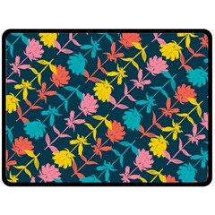 Colorful Floral Pattern Fleece Blanket (large)  by DanaeStudio