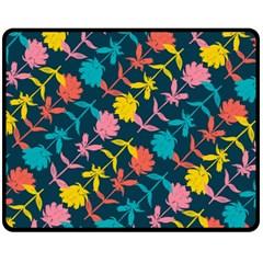 Colorful Floral Pattern Fleece Blanket (Medium)