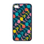 Colorful Floral Pattern Apple iPhone 4 Case (Black) Front