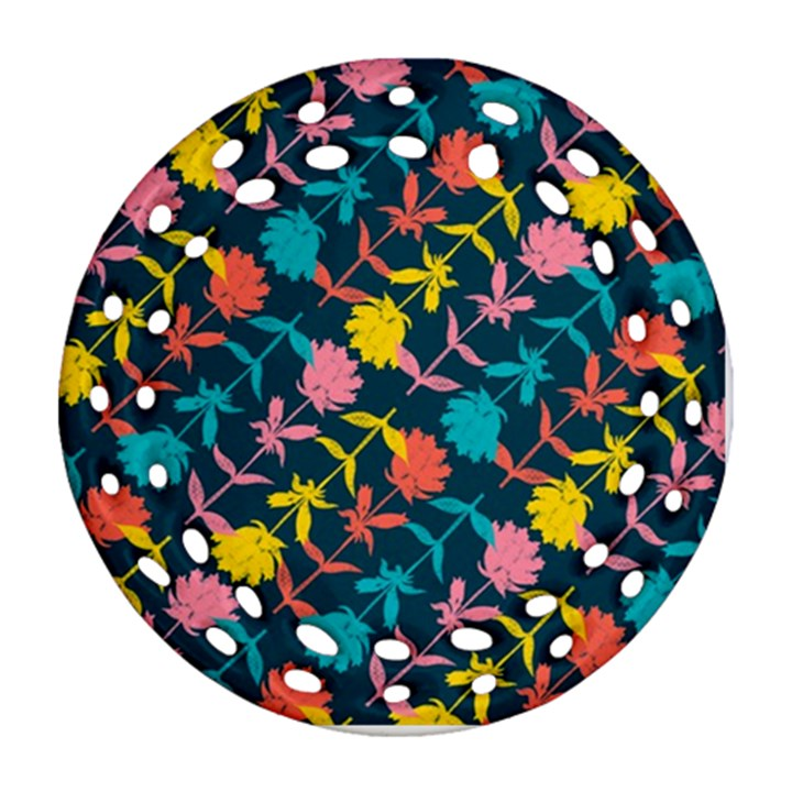 Colorful Floral Pattern Ornament (Round Filigree)