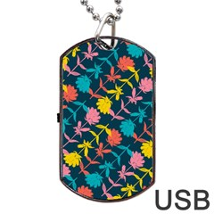 Colorful Floral Pattern Dog Tag USB Flash (Two Sides)