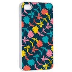 Colorful Floral Pattern Apple Iphone 4/4s Seamless Case (white) by DanaeStudio