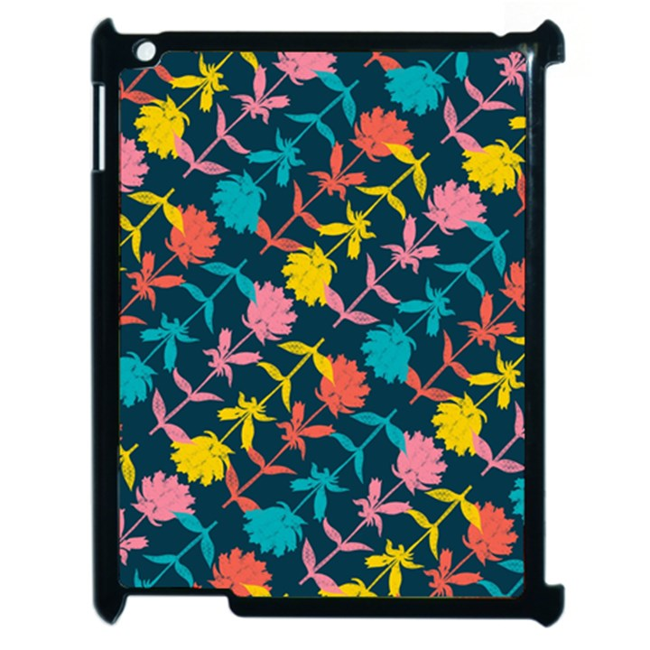 Colorful Floral Pattern Apple iPad 2 Case (Black)
