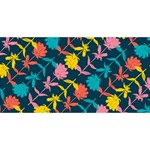 Colorful Floral Pattern Twin Hearts 3D Greeting Card (8x4) Front