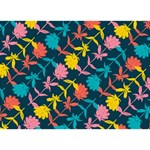 Colorful Floral Pattern LOVE Bottom 3D Greeting Card (7x5) Back