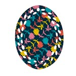 Colorful Floral Pattern Oval Filigree Ornament (2-Side)  Front