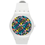 Colorful Floral Pattern Round Plastic Sport Watch (M) Front