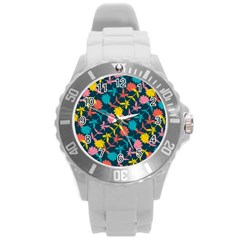 Colorful Floral Pattern Round Plastic Sport Watch (l) by DanaeStudio