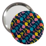 Colorful Floral Pattern 3  Handbag Mirrors Front