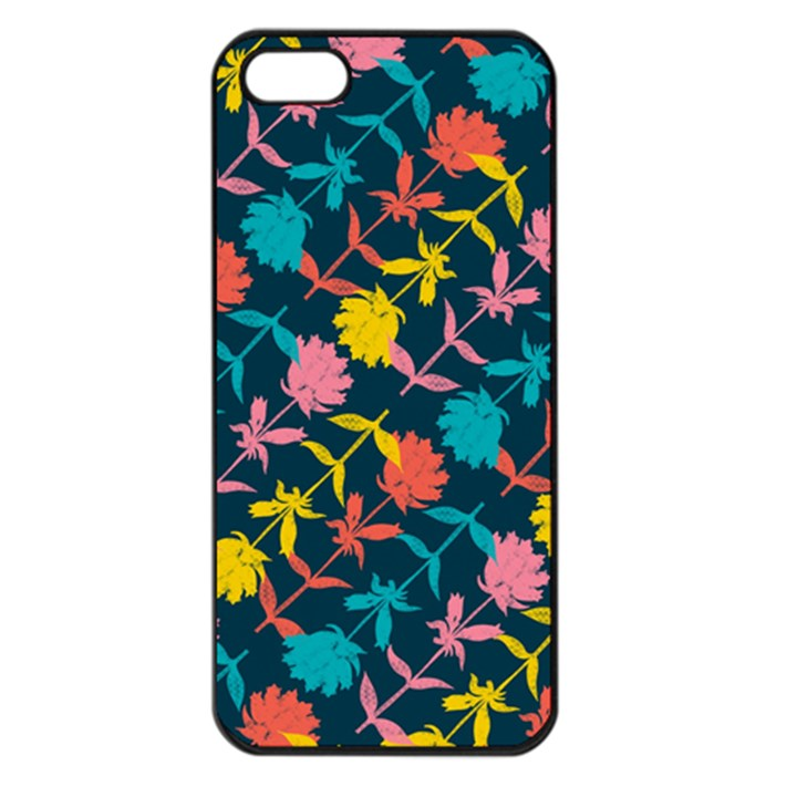 Colorful Floral Pattern Apple iPhone 5 Seamless Case (Black)