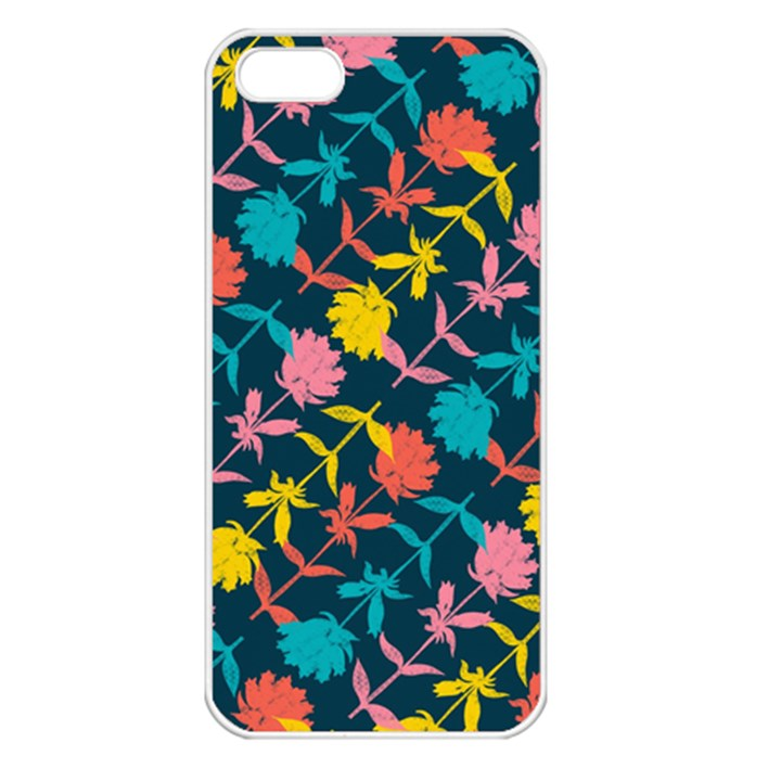 Colorful Floral Pattern Apple iPhone 5 Seamless Case (White)