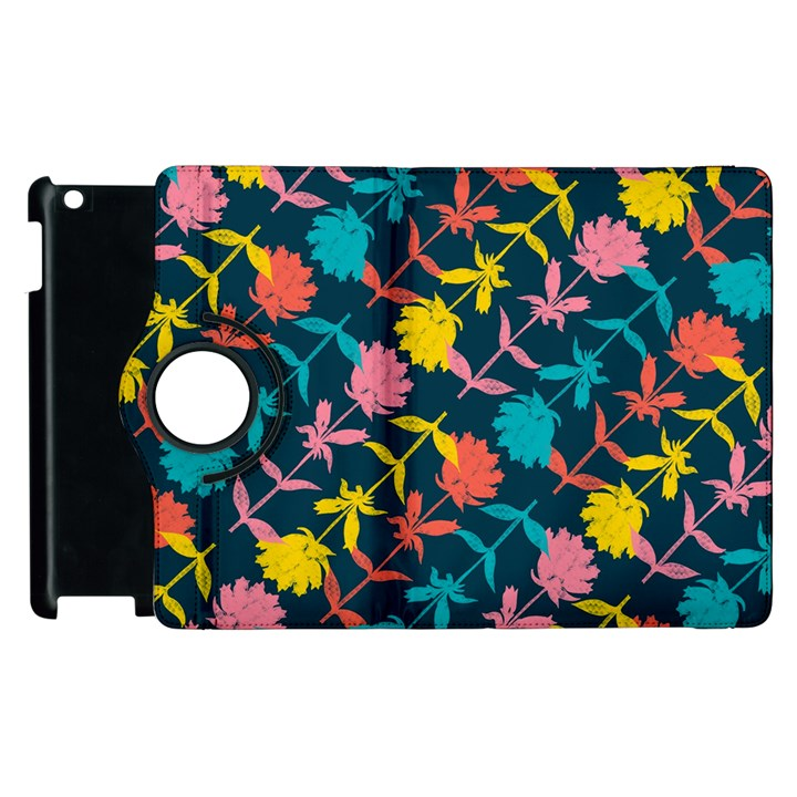 Colorful Floral Pattern Apple iPad 2 Flip 360 Case