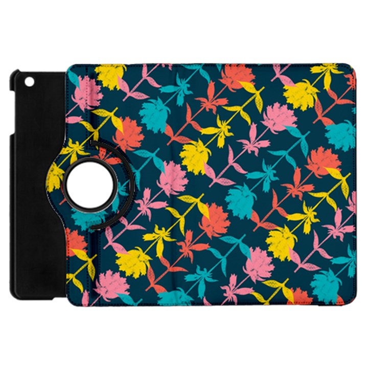 Colorful Floral Pattern Apple iPad Mini Flip 360 Case