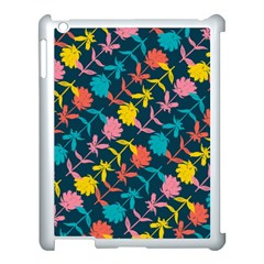 Colorful Floral Pattern Apple iPad 3/4 Case (White)