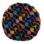 Colorful Floral Pattern Large 18  Premium Round Cushions Back