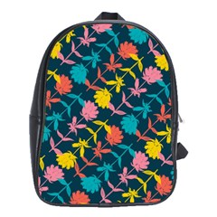 Colorful Floral Pattern School Bags (XL)
