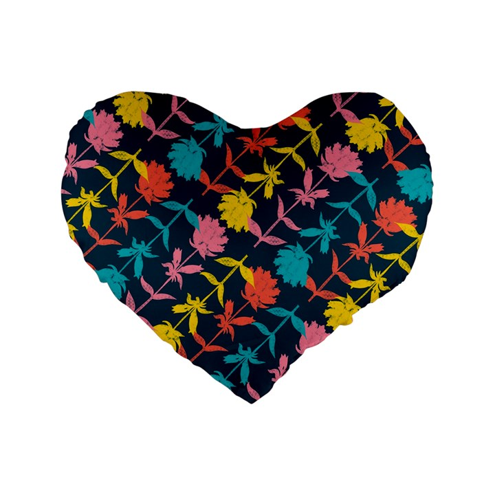 Colorful Floral Pattern Standard 16  Premium Heart Shape Cushions